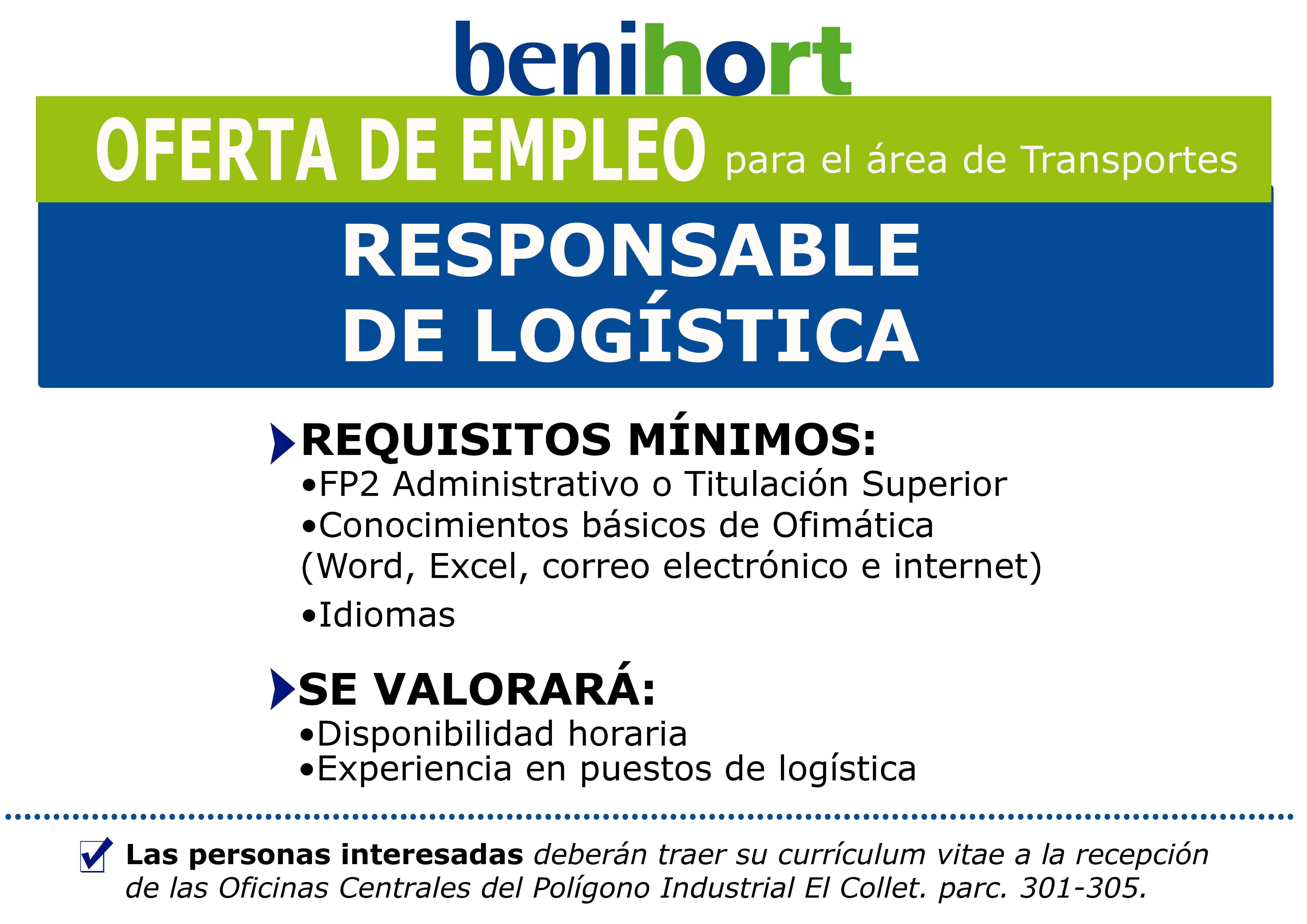 Oferta empleo Benihort Transportes